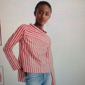 J Crew red striped cotton blouse sz 12